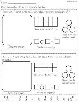 Word Problems for numbers 1 to 10