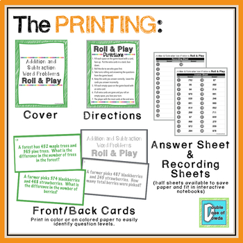Addition and Subtraction Word Problems Roll and Play Dice Game