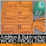 Addition and Subtraction (with Regrouping) Word Problems Dice Game