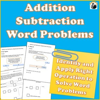 Addition and Subtraction Word Problems Strategies 1st Grade, 2nd Grade