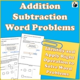 Addition and Subtraction Word Problems 1st Grade, 2nd Grade
