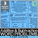 Addition and Subtraction with Regrouping Word Problems Task Cards