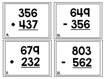Addition and Subtraction Word Problems Task Cards/Scoot