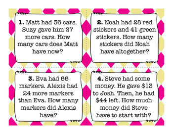 Addition and Subtraction Word Problems Task Cards with QR Codes