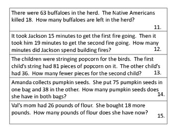 Addition and Subtraction Word Problems:  Thanksgiving Theme