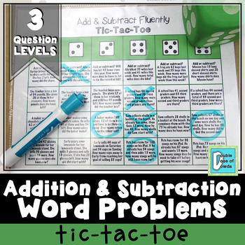 Addition and Subtraction Word Problems Tic-Tac-Toe
