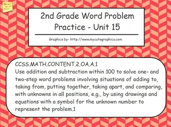 Addition and Subtraction Word Problems Up to 100 - 2nd Grade