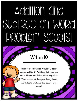 Addition and Subtraction Word Problems Within 10 Scoots