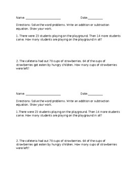 Addition and Subtraction Word Problems Within 100