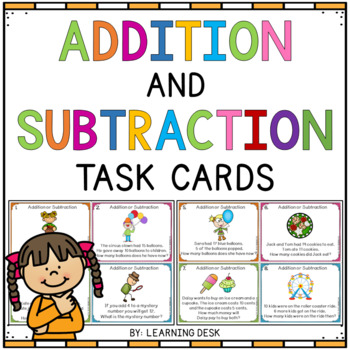 Word Problems 1st Grade Addition and Subtraction To 20 (Task Cards)