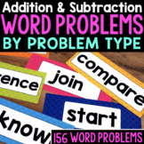 Numberless Word Problems by Problem Type for Addition and Subtraction