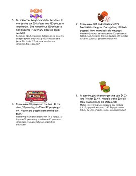 Addition and Subtraction Word Problems in English and Spanish (2 steps)