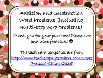 Addition and Subtraction Word Problems (including multi-step word problems)