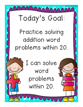 Addition and Subtraction Word Problems to 20 - 1.OA.A1, 1.OA.A2, 2.OA.A1