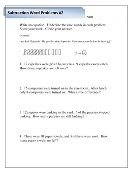 Addition and Subtraction Word Problems with Clue Words - 1.OA.A.1