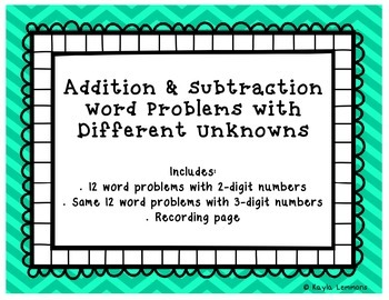 Addition and Subtraction Word Problems with Different Unknowns
