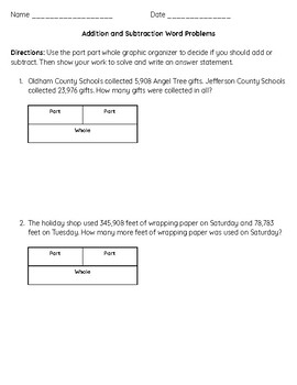 4th and 5th grade Addition and Subtraction Word Problems with Graphic  Organizer