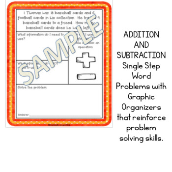 Addition and Subtraction Word Problems with Graphic Organizers NO PREP
