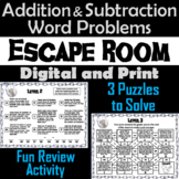 Addition and Subtraction Word Problems with Regrouping Game: Escape Room Math