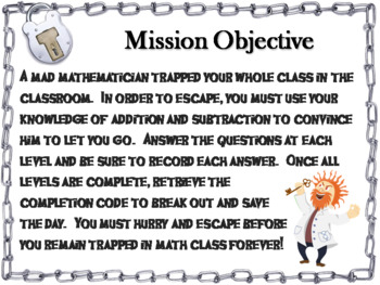 Addition and Subtraction Word Problems without Regrouping Game: Escape Room Math