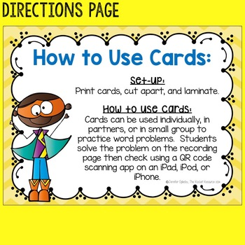 Addition and Subtraction Word Problems:Task Cards with QR codes
