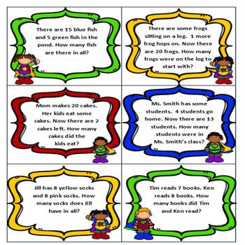 Addition and Subtraction Word problem BINGO- Superhero Theme CCSS aligned 1.OA.1
