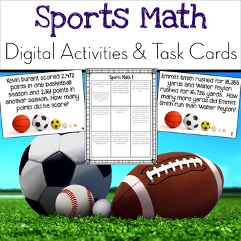 Sports Math: Digital Learning & Addition and Subtraction Task Cards