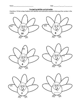 Addition and Subtraction Worksheet 1-10