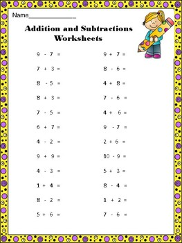 Addition and Subtraction Worksheets  CCSS.MATH.CONTENT.2.OA.B.2