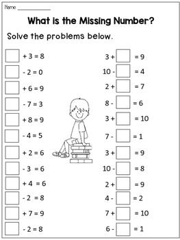 Missing Addends Worksheets for Homework or Morning work by ...