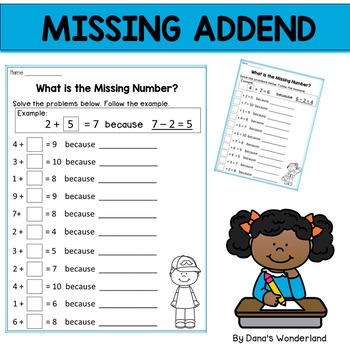 Missing Addends Worksheets for Homework or Morning Work