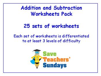 Addition and Subtraction Worksheets Bundle / Pack (25 sets