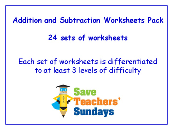 Addition and Subtraction Worksheets Bundle / Pack (24 sets for 1st to 2nd grade)