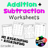 Addition and Subtraction Worksheets - No Regrouping and Regrouping