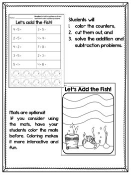 Addition Worksheets and Subtraction Worksheets Using Counters