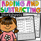 Addition and Subtraction Worksheets to 10 (with counters)