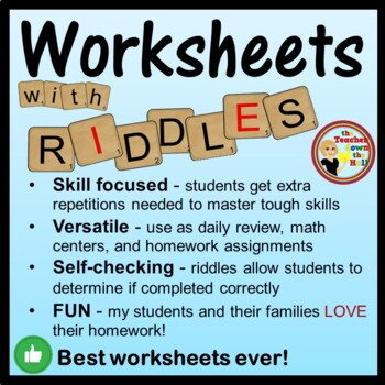 Addition and Subtraction Worksheets w/ Riddles!  Grades 2-3