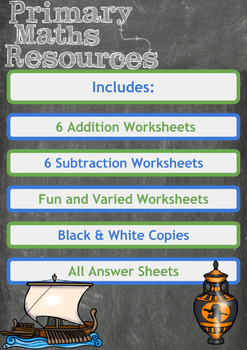 Addition and Subtraction Worksheets with an Ancient Greek Theme for 3rd Grade