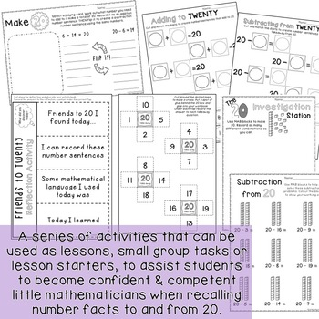 Addition and Subtraction activities to 20 - Digital and paper tasks