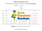 Addition and Subtraction as Inverse Operations lesson plans and worksheets