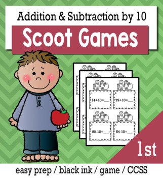 Addition and Subtraction by 10 - Scoot Game/Task Cards