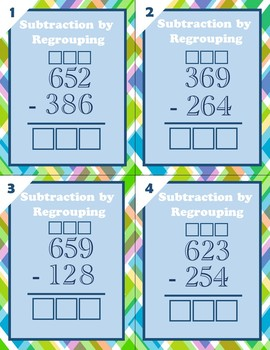 Addition and Subtraction by Regrouping Task Cards (Within 1000)