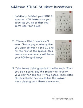 Addition and Subtraction facts BINGO - Partner Game for Math Centers