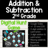 Addition and Subtraction for 2nd Grade DIGITAL Hunt Game f