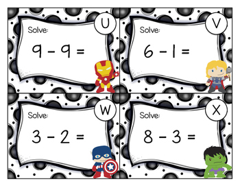 Avengers Addition and Subtraction in 10 Task Cards