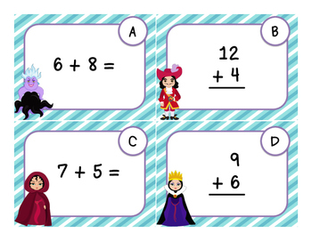 Addition and Subtraction in 20 - Villain Themed Task Cards