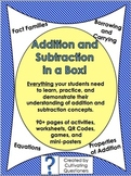 Addition and Subtraction in a Box: Posters, Activities, Resources, and QR Codes