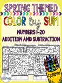 Color by numbers - Addition and subtraction 1-20 - NO PREP