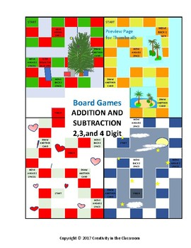 Addition and Subtraction of 2,3,and 4 Digit Numbers Board Games