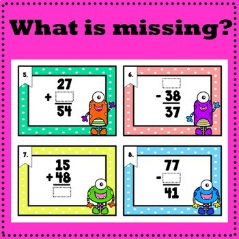 Addition and Subtraction of 2-Digit Numbers - 36 Task Cards